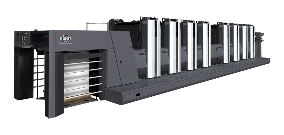 Ryobin ja Mitsubishin yhdistyminen vuonna 2014 loi uuden RMGT-painokonebrändin. Kuvassa A1-koon RMGT 9 -sarjan offsetpainokone.