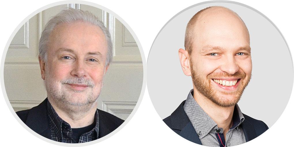 Vasemmalla Packnews-sivuston pohjoismainen päätoimittaja Bo Wallteg ja oikealla Packnews.fi:n ja Print&Median kustantaja Jarkko Hakola.
