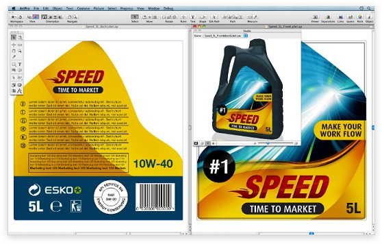 Eskon ArtPro-ohjelmistolla suunnitellaan ja esivalmistellaan pakkauksia.
