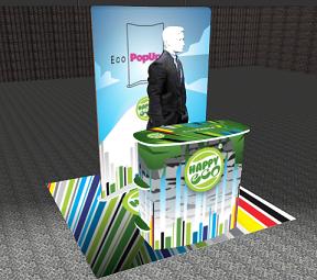 Happy Printin 3D-ohjelmalla tehty messuosasto.