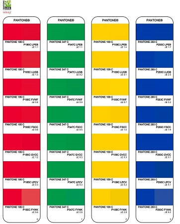 Esimerkki värisävyjen vertailusta PDF-dokumentissa.