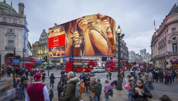 Suunnittelukuva uudesta Piccadilly Lights -mainostaulusta.