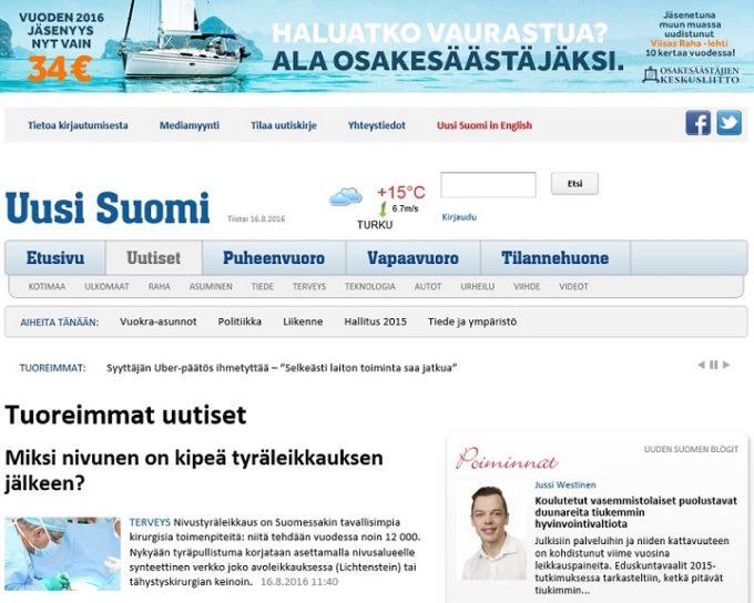 Uuden Suomen etusivu verkossa.