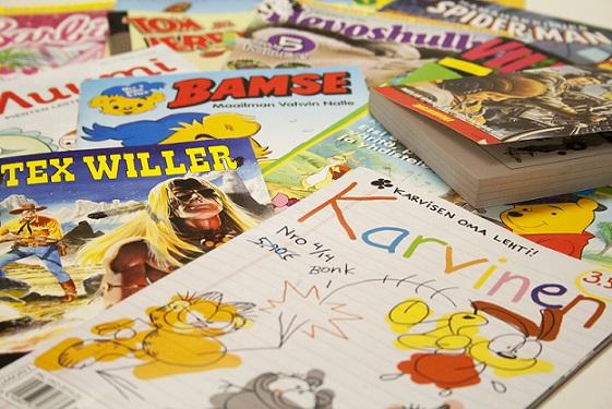 Lehtipiste jakelee paljon sarjakuvalehtiä, jotka ovat luetuimpia aikakauslehtiä. Kuva Aikakausmedia/Outi Sonkamuotka.